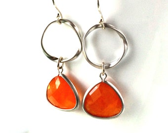 Orange Silver Earring, Orange Jade Dangle Earrings, Orange Bridesmaid, Orange Wedding Earrings
