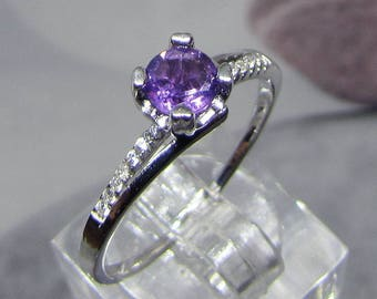 Size 58 silver and natural Amethyst ring
