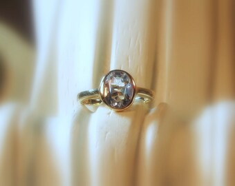 "Moissanite Oval ""Forever One"" Gemstone 14K Gold Ring ~ Made to Order"