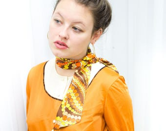 70'S GROOVY SHIRT DRESS ϟ Harvest Gold Mini Dress + White Detail Stitched Front Button Pocket Muted Orange Jumper / Gown