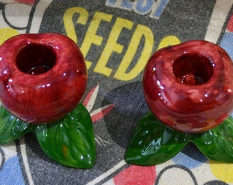 Franciscan Apple Candle Holders, Franciscan Candle Holders, Apple Taper Candle Holders