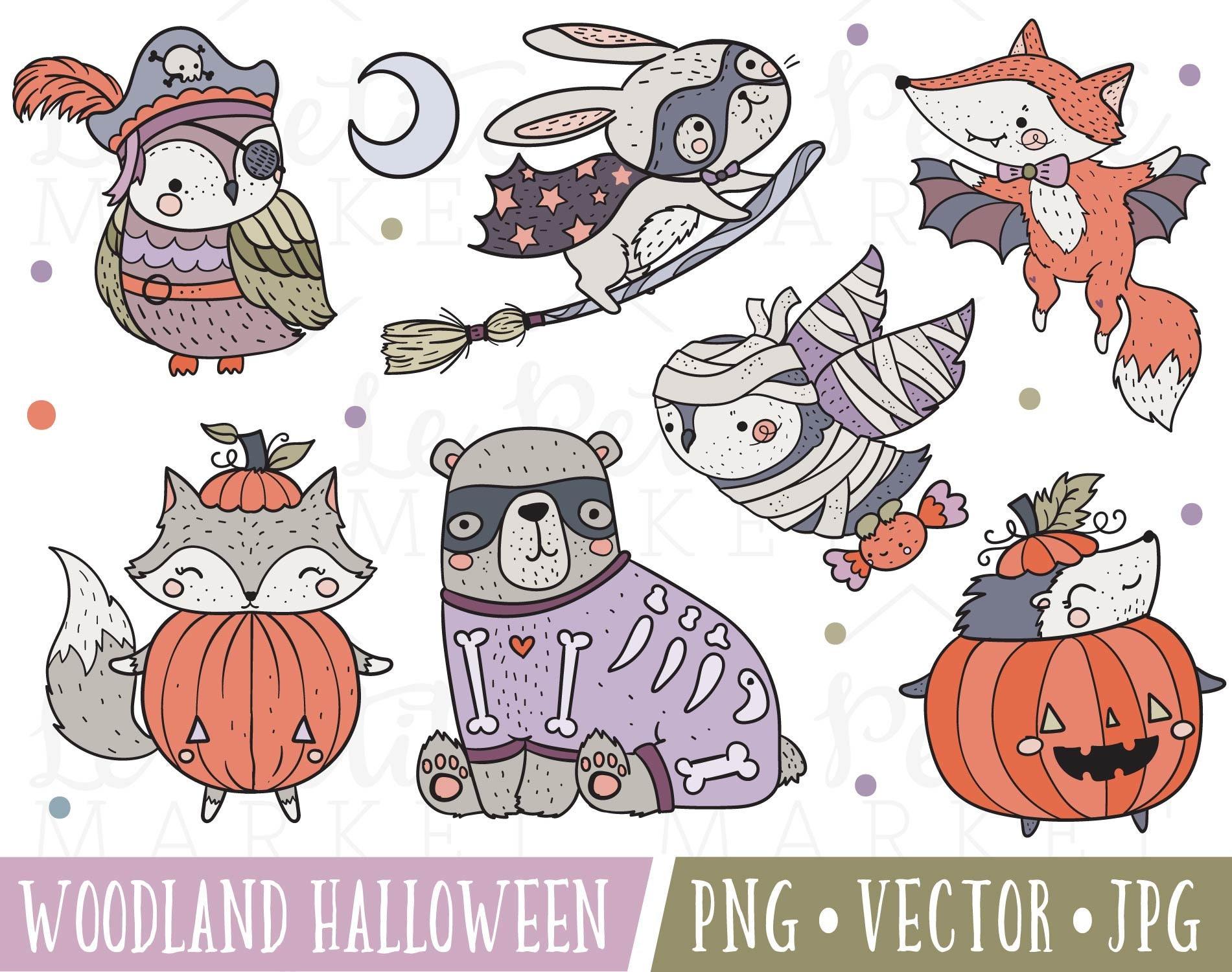 Woodland Halloween Animals Clipart Set Cute Halloween Animals