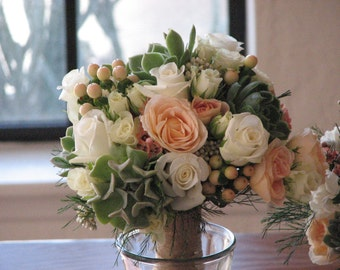 Bridal Romantic Succulent and Soft Peach Flowers Bouquet