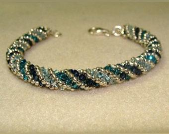 Blue and Silver Crystal spiral bracelet
