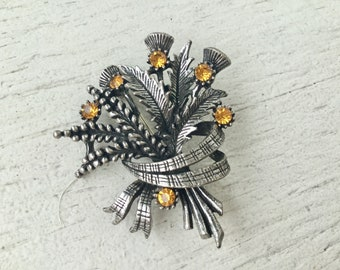 50s silver wheat brooch / vintage yellow plant ribbon leaf pin / vintage pin