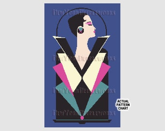 Art Deco Woman Cross Stitch, Art Deco Woman, Art Deco, Cross Stitch, Woman Pattern, Vintage Deco, Woman in Pink and Black NewYorkNeedleworks