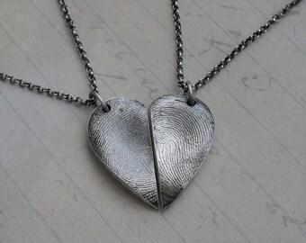 Fingerprint Necklaces with Two Adult Fingerprints Fine Silver Sterling Silver - Made to Order