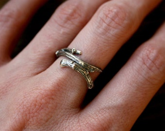 Silver Branch Ring: Twig Ring, Woodland Ring, Nature Jewellery, Twisted Twig,  Twig Jewellery, Rustic Ring, Entwined Ring, Elvish Ring.