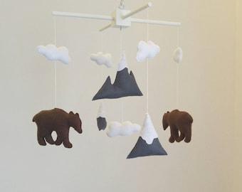 Mountain and bears nursery mobile, woodland nursery mobile, baby shower gift