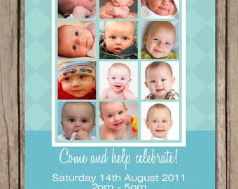 Photo Collage Boy's First Birthday Invitation - YOU PRINT