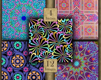 4 inch BRIGHT DESIGNS Digital Printable Squares collage sheets for Coasters & Crafts