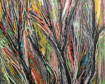 Vintage oil painting abstract expressionist landscape signed