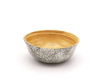 Small bamboo bowl with eggshells