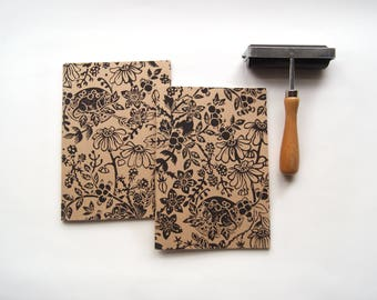 Mouse In The Hedgerow- Lino Print A5 Hardback Notebook Hand-Printed