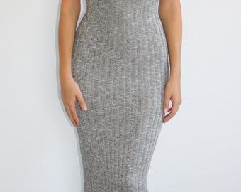 Lock & Key Heather Gray Bodycon Maxi Dress
