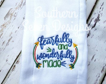 Fearfully and Wonderfully made embroidered burp cloth for baby