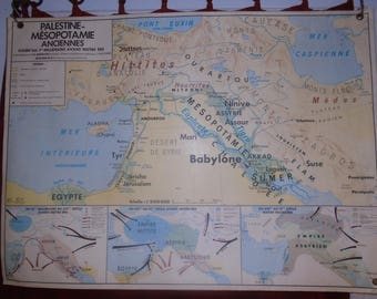 School wall map decor collection vintage Palestine Mesopotamia old French school