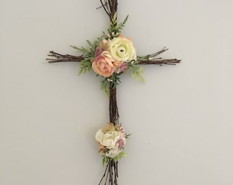 Woodland Nursery Cross, Christian Cross, Easter Decor, Twig Cross, Easter Cross, Rustic Cross, Nursery Cross, Christian Baby Decor