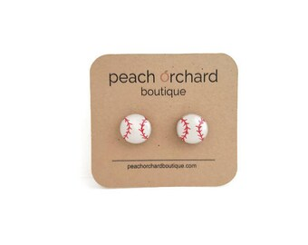 Baseball earrings- Baseball jewelry- Baseball gifts- Baseball accessories- Baseball studs
