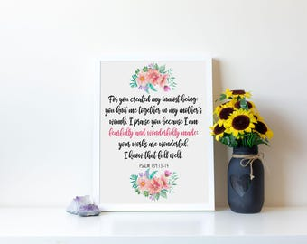 Psalm 139, Fearfully And Wonderfully Made, Psalm 139 14, Nursery Wall Art, Fearfully Made, Nursery Art, Nursery Bible Verse