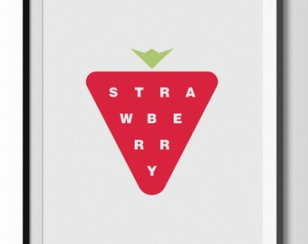 Creative Modern Strawberry Poster