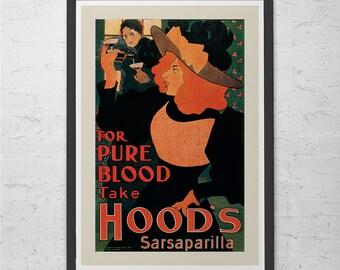 Vintage ART NOUVEAU POSTER Sarsaparilla Vintage Saloon Poster Belle Epoque Poster High Quality Reproduction Art Nouveau Print