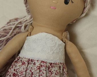 Handmade cloth doll, Rose/mother's day/valentine/birthday/ooak/christening/bridesmaid gift