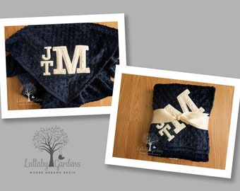 Personalized Minky Blanket, Personalized Baby Gifts, Monogrammed Baby Blanket, Monogrammed Minky Blanket, Appliqued Letters Minky Blanket