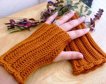Orange Wool Fingerless Gloves - Pumpkin Wool Fingerless Gloves - Wool Gauntlets - Wool Wrist Warmers - Wool Arm Warmbers - Wool Gloves