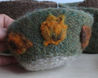 Wool Felted Bowl / Needle Felted Leaves / Green and Gray