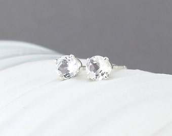 White Topaz Earrings Tiny Stud Earrings Silver Stud Earrings Gemstone Post Earrings Wife Gift Valentines Day Gift for Her