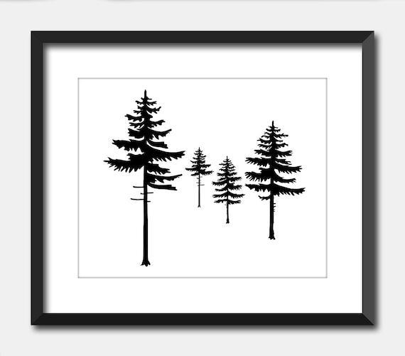 Minimalist Pine Tree: Black & White Pine Trees Modern Minimalist Tree Print Cabin