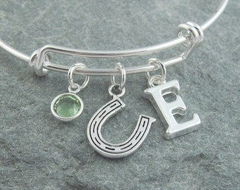 Horseshoe bracelet, horseshoe jewelry silver, initial bracelet, swarovski birthstone, personalized jewelry, bridesmaid gift, wedding jewelry