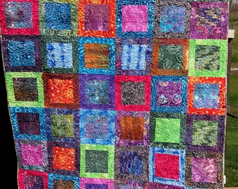 "Large handmade lap quilt - Batiks ""Square within a square"""