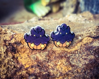 Adorable Pumpkaboo Earrings- Cute Ghost Pokemon Stud Earrings- Nickel Free, Water Resistant- Halloween Themed Earrings!