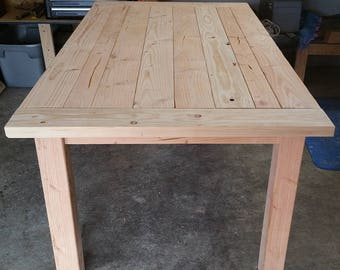 Unfinished Breadboard Top Rustic Farm Table