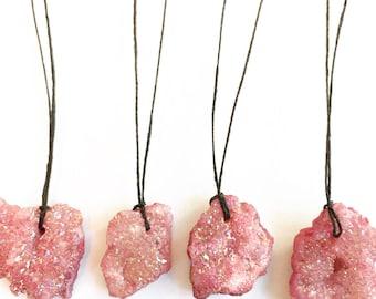 Blush / Mauve / Pink Titanium Raw Agate Druzy Crystal Nuggets on Waxed Irish Linen Cord Necklace
