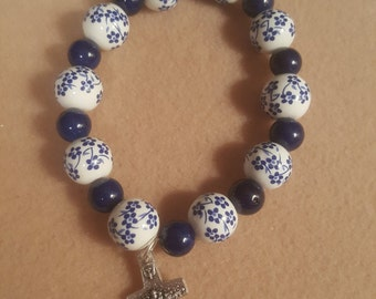Blue and White Bracelet with Cross - Free Shipping