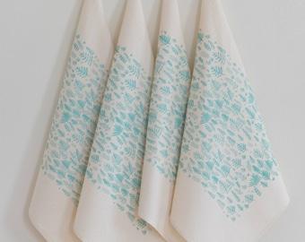 Cloth Napkins - Organic Cotton - Set of 4 - Fern Print - Cotton Napkin Set - Eco Friendly - Floral - Screen Printed - Organic Cloth Napkins