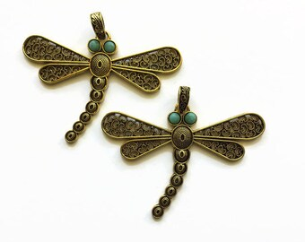 Dragonfly Pendant, Dragonfly Necklace, Antique Brass Filigree Pendant, 85 mm Dragonfly Pendant, Dragonfly Filigree Pendant, Dragonfly Supply