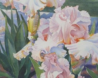 Designer Gown - Iris Watercolor Print Iris Art - Iris Floral Art Print
