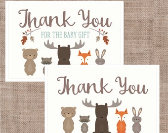Baby Shower Thank You Cards, Woodland Animal Pastel Colors Thank You