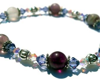 Crystal Aurora Borealis and Purple Bracelet, Fluorite, Swarovski Jewelry, White and Purple