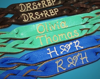 Leather name bracelet - Engraved Couples Bracelets - Gifts for couples - Matching Bracelets - Couples Bracelets - SKU1010