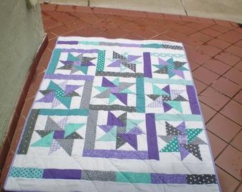 Baby quilt, handmade baby girl quilt, baby girl bedding, modern baby quilt, crib quilt, purple, teal grey, toddler-Purple Star Sensation2