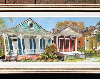 "New Orleans Shotgun House Framed Art 22x12"" Matted Print Signed and Numbered"