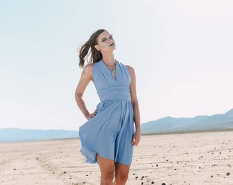 Periwinkle Blue Bridesmaids Convertible Wrap Dress XS-5XL Beach Wedding, Bridal Party Dress, Destination Wedding, Bridal Shower