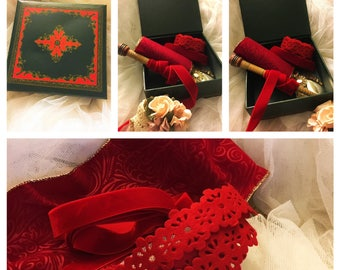 Green vintage jewelry box ,Red ribbons, red velvet ribbon , red ribbons and embellishments