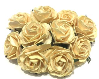 Deep Ivory Heritage Mulberry Paper Roses Hr002