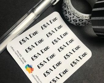 ESA Due Planner Stickers